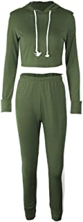 Aiweijia Women's Clothing Long Sleeve Sportswear Stitching Color 2-Piece Set ArmyGreen