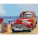 WDJHC Pintura por NúMeros Dibujos para Pintar con NúMeros Pigmento AcríLico Personalizado DIY para Adultos NiñOs Y Principiantes DecoracióN del Hogar - Carro Rojo 16x20 Pulgadas (Sin Marco)