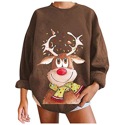 Suéter de moda de Navidad con estampado casual suelto y cuello redondo para mujer, #11 Coffee, XXL