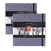Arteza Fyrkantig skissbok, 21 x 21 cm, 2-pack, 100 sidor per dagbok, dammblå inbunden inbunden inbunden, 180 gsm, syrafria skissböcker för teckning med torra medier