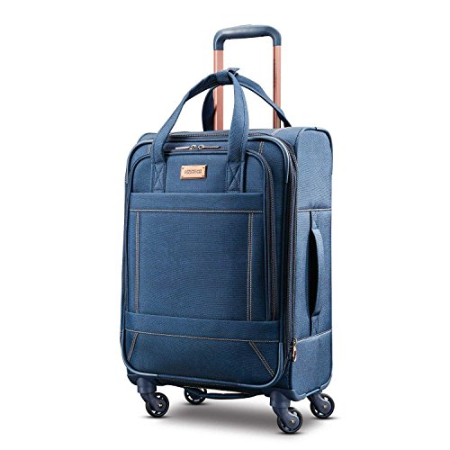 American Tourister Belle Voyage Softside Luggage with Spinner Wheels, Blue Denim, Carry-On 21-Inch