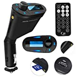 FM Transmitter Wireless Car Kit Power On/Off Button with Charger Play USB Flash Drive Micro SD Card Input MP3 Music Player (Blue Model)