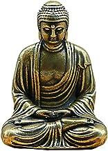 Mini Brass Buddha Statue, Pocket Zen Buddha, India Sitting Buddha Sculpture, Home Office Desk Car Decorative Ornament (Col...