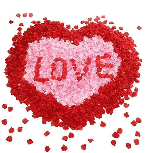 Sunerly 2000 stücke 2 Farben Silk künstliche rosenblätter Hochzeit Blume gefälligkeiten für Hochzeit Gang, konfetti...