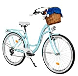 Milord Bikes Bicicleta de Confort, Azul Claro, de 7 Velocidad y 28 Pulgadas con Cesta y Soporte...