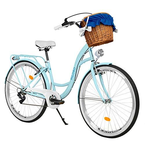 Milord Bikes Bicicleta de Confort, Azul Claro, de 7 Velocidad y 28 Pulgadas con Cesta y Soporte Trasero, Bicicleta Holandesa, Bicicleta para Mujer, Bicicleta Urbana, Retro, Vintage