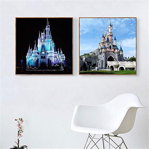 VVSUN Castillo Durmiente Disneyland Paris Cuadros de Pared para decoración de Sala de Estar Parque de Atracciones Póster de habitación de niños Cuadros,50x50cmx2Pcs(sin Marco)