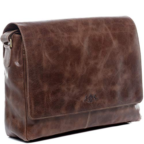 "SID & VAIN Messenger Bag echt Leder Laptoptasche Spencer groß Businesstasche 15.6"" Laptop Umhängetasche Laptopfach Ledertasche Herren braun"