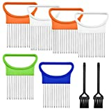 6 Pcs Onion Holder Slicer,YuCool Stainless Steel Vegetable Lemon Potato Tomato Cutter Chopper with 2 Pcs Mini Brushes Practical Tools for Home Kitchen Use,4 Colors