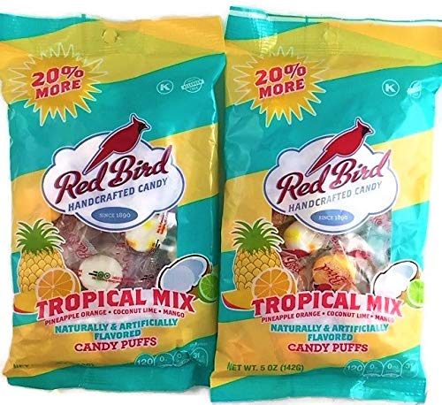 Red Bird Tropical Mix Candy Puffs | Pineapple Orange Coconut Lime Mango | 2 x 5 Ounce Bags
