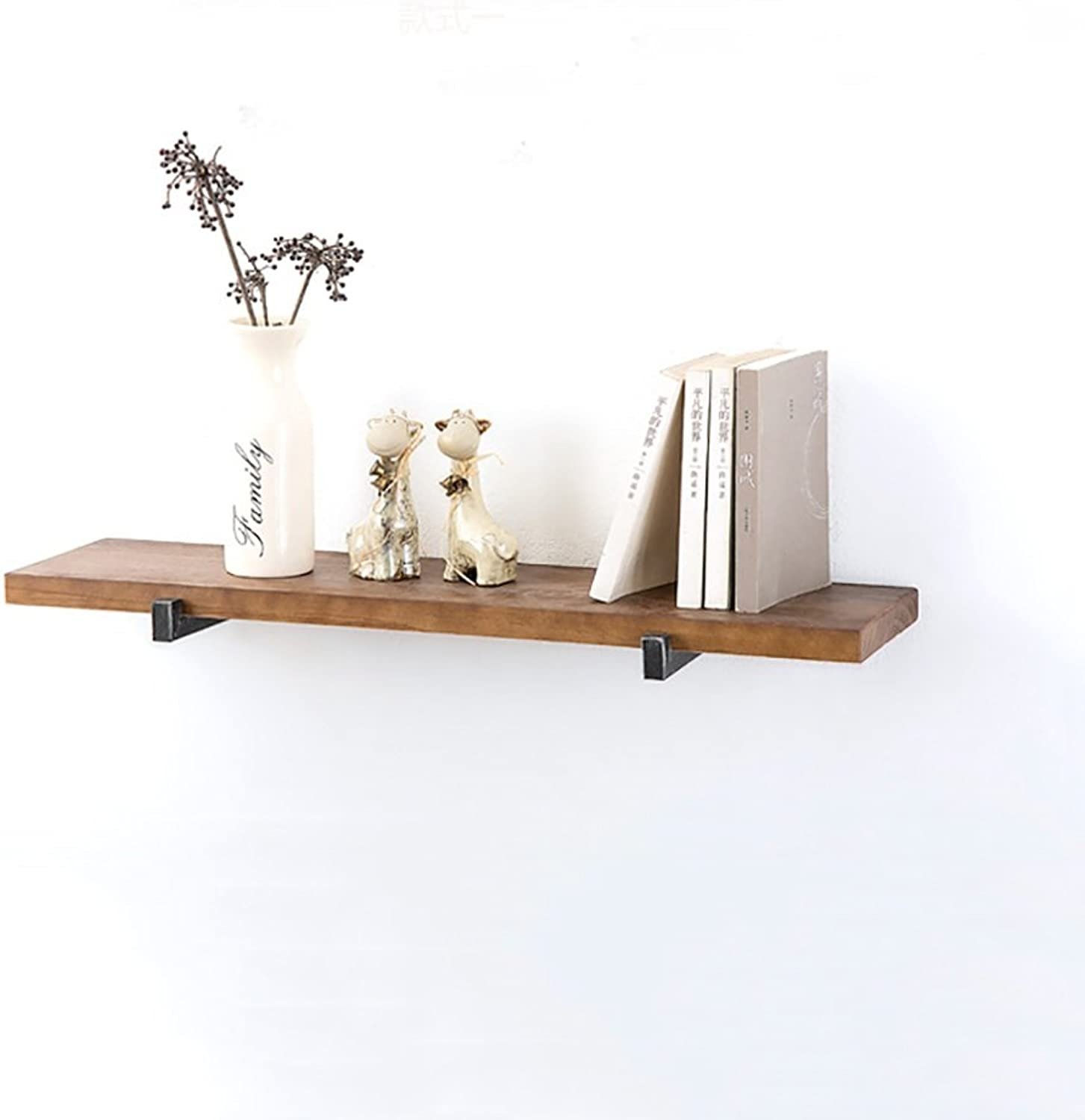 Decorative Accessories Floating Shelves Decorative Wall Shelf Single Layer Retro Style with Iron and Wood Storage Display Book Shelf Floating Shelves (Size   6020CM)