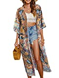 Geagodelia Cardigan Largo Pareos para Mujer Bikini Cubrir de Playa Kimono Cabo Suelto con Estampados de Flor Chal de Verano Protector Solar Traje de Baño Ropa de Playa (Café, XL)