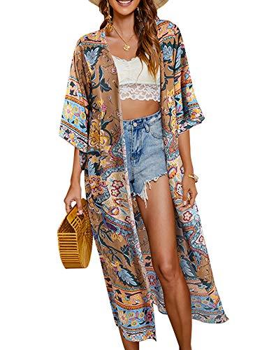 Geagodelia Cardigan long parois pour femme Bikini couverture de plage Kimono Cape de soleil avec motifs floraux Chal d'été Protecteur solaire Combinaison de bain Vêtements de plage - Marron - XL