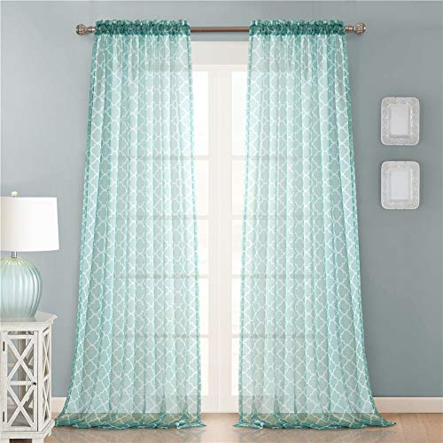 Lindong - Cortina de voile con barra transparente, cortina decorativa para salón, dormitorio, habitación infantil, 1 unidad, color menta, 140 x 175 cm