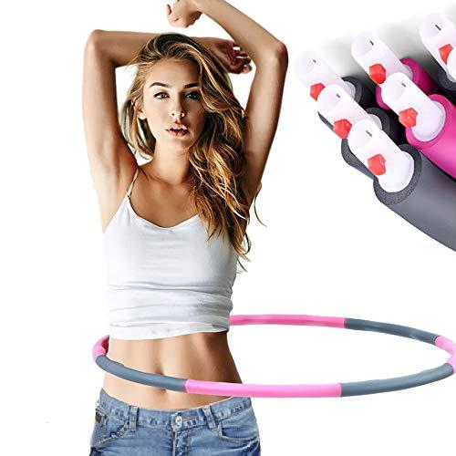 AFF Hula Hoop für Erwachsene Premium-Qualität und weiche Polsterung 8-teiliges abnehmbares Design Nehmen Sie schnell ab, und zwar auf unterhaltsame Weise zum Training für Gewichtsreduktion,6 Roots