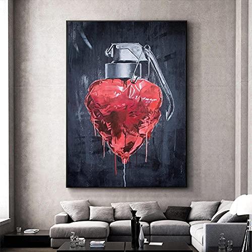 Tryck för väggar minimalistisk abstraktion kärlek hjärta granat affisch väggdekor familj interiör sovrum barnrum väggdekor 40 x 60 cm (15,7 x 23,6 tum) ingen ram