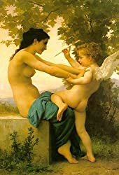 A genuine young girl defending herself against eros, 100% hand-painted oil painting reproduction on canvas