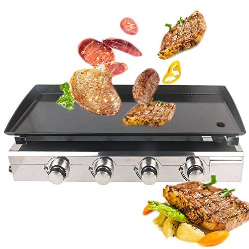 GZZT Gasbackplatte BBQ Grill 4 Brenner 10 kW LPG Plancha Rindfleisch Schwein Huhn Kochplatte antihaftbeschichtet