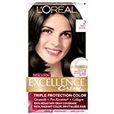 L'Oreal Paris Excellence Creme Permanent Hair Color, 2.0 Soft Black, 100% Gray Coverage Hair Dye, Pack of 1, Pack of 1