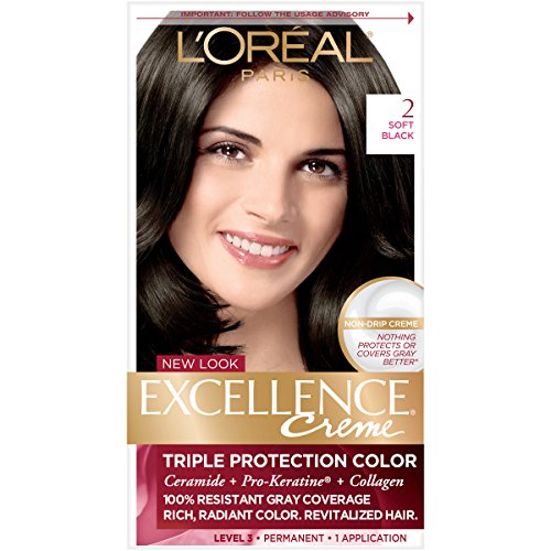 L'Oreal Paris Excellence Creme Permanent Hair Color, 2.0 Soft Black, 100 percent Gray Coverage Hair Dye, Pack of 1, Pack of 1