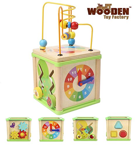 The Wooden Toy Factory - Cubo de Actividades 5 en 1 - Juguete de Madera Educativo para...