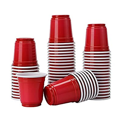 Tashiliving [100 Pack-2 oz Mini Party, Jager Bomb, Jello Shots, Sample Cups, 2 Ounce, Red
