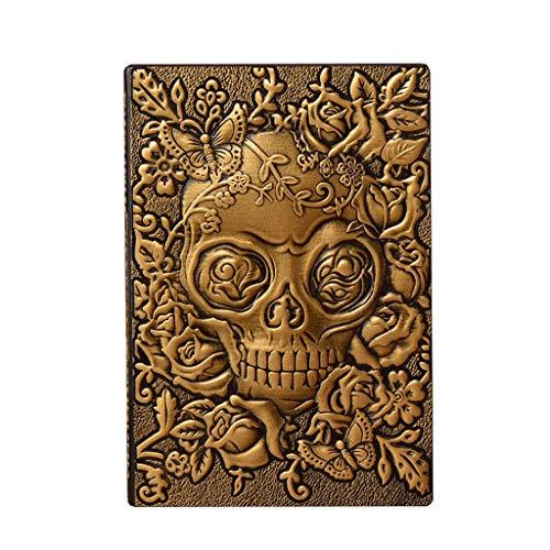 QIFFIY Cuaderno Cuaderno de Halloween Diario de Negocios for Mujeres Cuero Cubierta Dura Papel de Bala Pestañas Diario Libro Libro de Aprendizaje Estudiante Notebook (Color : Gold)