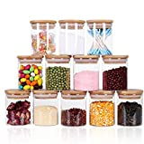 Footek Glass Jars Set, Airtight Food Containers with Bamboo Lids Silicon Ring for Storage, Kitchen Canister Set Ideal for Flour Sugar Tea Coffee Beans Spice Jars (12, 250ml)