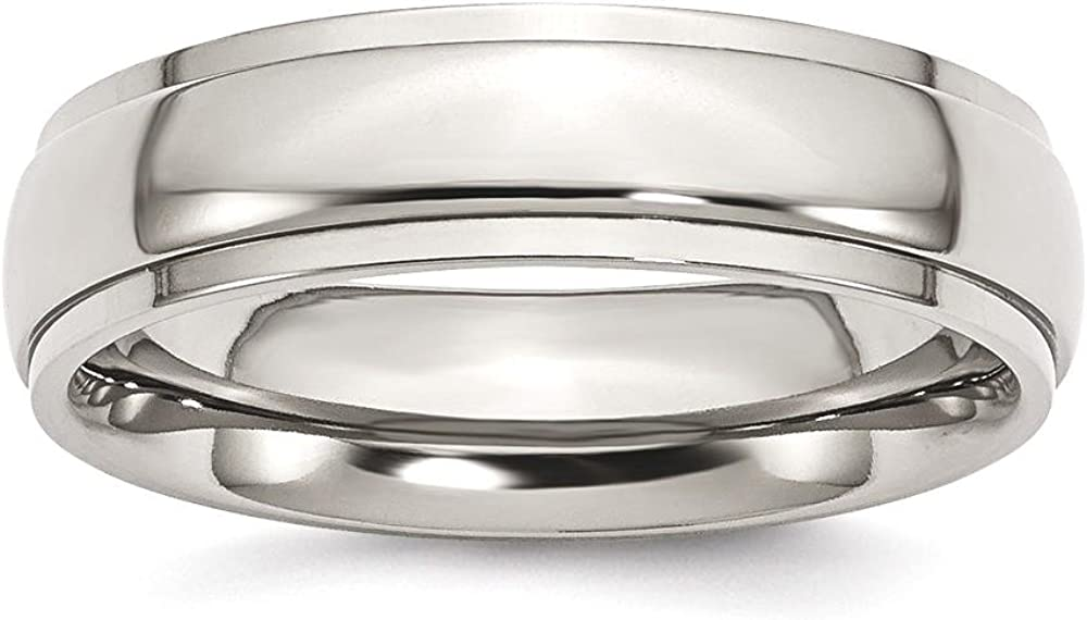 ICE CARATS Titanium 6mm Ridged Edge Wedding Ring Band Classic Domed W/Edge Fashion Jewelry for Women Gifts for Her