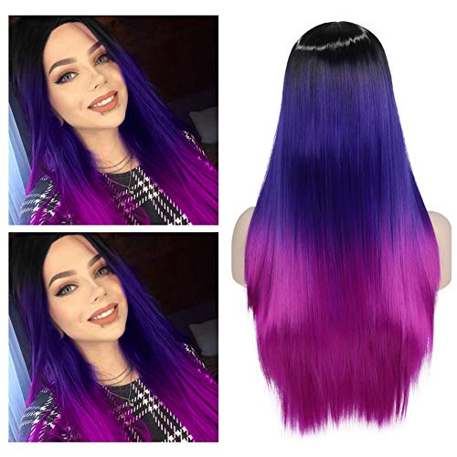 Lady Hanne Wigs Ombre Wig Black to Blue Violet Middle Part Long Natural Straight Wig Heat Resistant Synthetic Daily Party Wig for Women