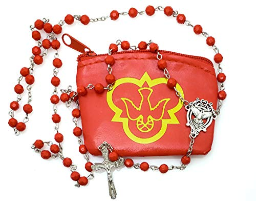 Elysian Gift Shop Holy Spirit Confirmation Rosary, 6mm Ruby Red Beads with Silver Metal Descending Dove Center and Crucifix in Vinyl Rosary case with Gold Accent