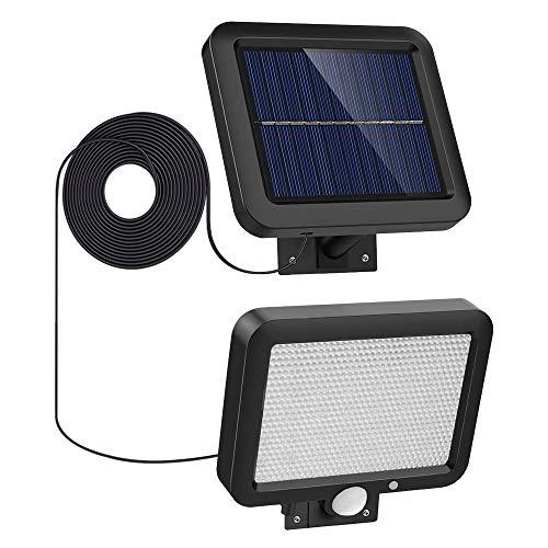 Luz Solar Exterior con Detector de movimiento, IP65 impermeable iluminacion Exterior 520LM Foco Solar, 56 LED 6500K luz solar de seguridad para pared con cable de 16.5ft para jardín