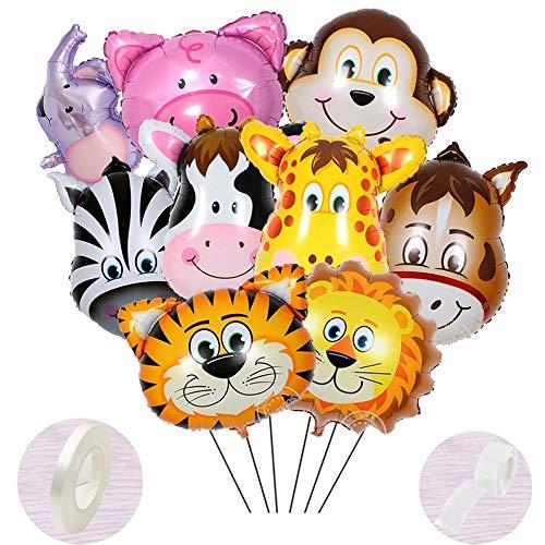 Juego de helio de 10 piezas de globos de papel de aluminio,globos de la selva para de la fiesta de los niños del bebé, globos de cabeza de animal gigante para regalo de decoración de cumpleaños años