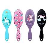 AhlsenL 4 Pack Detangler Hair Brushes, Anti-static Massage Comb Hair Brush for Women Girls Curly Straight Long or Short Hair (Unicorn)