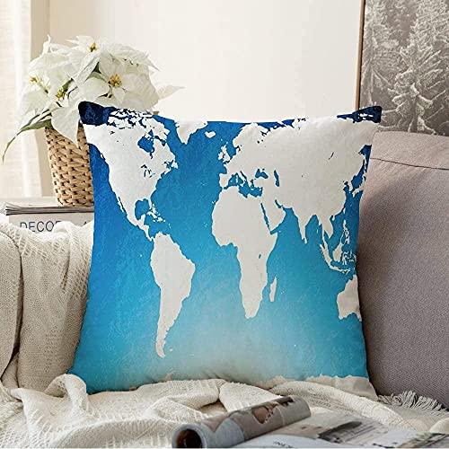 Almohada decorativa de la Tierra Rústica Frontera Asia, Continente Mundo Rusty Grungy Map Abstracto Europa Viajes Atlas Geography Square Cozy Funda de cojín, 50,8 x 50,8 cm
