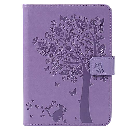 LMFULM® Case for All Kindle Paperwhite (2018/2016/ 2015/2013/ 2012 Models with 6 Inch Display) PU Leather Ultra-Thin Magnetic Leather Cover Embossing Cat and Tree Stand Case Flip Cover Purple