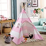 Costzon Kids Play Tent Indian Tent 5' Cotton Canvas Baby Children Playhut with Carry Bag, Indoor and Outdoor Kid Teepee Tent for Toddlers Boys and Girls (Pink & White Stripe)