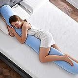 NOFFA Almohada de cuerpo completo de forma larga, almohada de almohada de maternidad de espuma de memoria triturada, almohada de apoyo para dormir para adultos / mujeres embarazadas (200 x 20 x 20 cm)