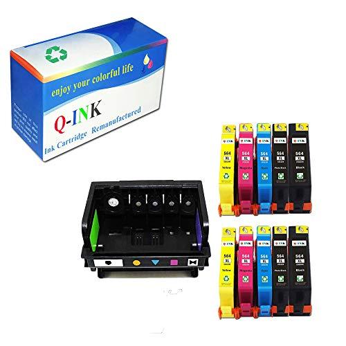 QINK (Como Pack) 1 Pack 5 Slot 564 Print Head for 564 CB326-30002 CN642A Printhead & 10 Pack 564XL (BK PBK C M Y) Ink Cartridge for PhotoSmart 7510 7520