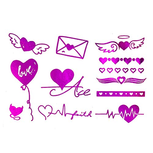 Oblique Unique® Set de Tatouage Temporaire Coeur avec Effet Paillettes Rose 24 pièces pour Party JGA Enterrement de Vie de Jeune Fille et Jouer