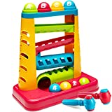 Zetz Brands Pound A Ball Toy STEM Games for Kids - Child-Safe, Non-Toxic Hammering and Pounding Toys with Ramp Tower, Multicolored Balls, and Pounding Hammers - Developmental Toy