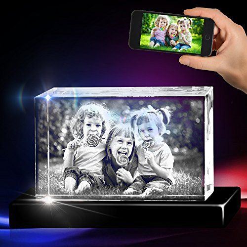 3D Cube Crystal with a Free LED Base That Illuminates The Crystal, Personalize with Your own Custom Engraving (Large Landscape)