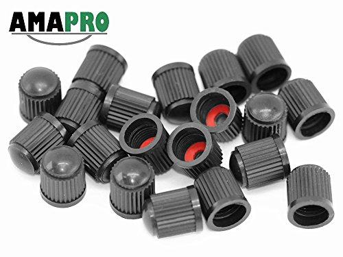 AMAPRO 20x Premium Ventilkappen für Auto, Motorrad und Fahrrad mit Dichtungsring | Ventildeckel | Autoventilkappen