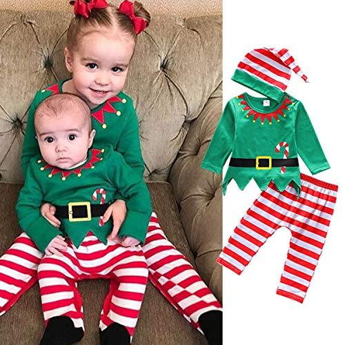 3pcs / set kerstkleding zuigeling kleinkind jongens meisjes Kerstmis shirt tops + gestreepte broek + beanie cap groen 70
