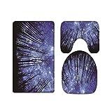 A.Monamour Juego de 3 Alfombrillas de Baño Cielo Nocturno Azul Estrellas Brillantes Árboles Bosque Silueta Franela Absorbente Antideslizantes Alfombra de Baño Tapete