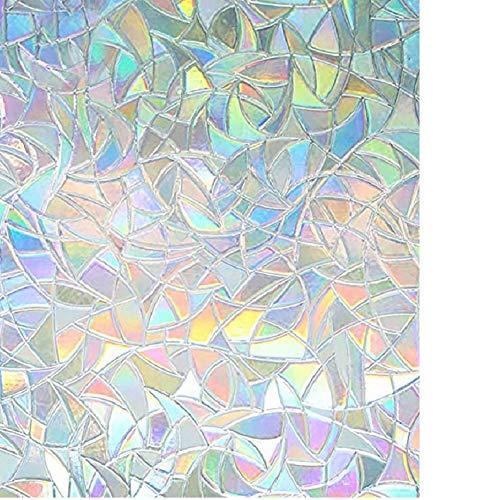 TONGXU Vinilo Película de Ventana Electroestatico, 3D Rainbow Película de Ventana, para Privacidad Protección Pegatina Facíl Desmontar de Baño Cocina Oficina Anti UV Transparente (45 x 200 cm)