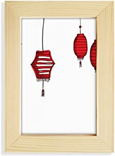 DIYthinker Red Lanterns Chinese Year of Rooster Desktop Wooden Photo Frame Picture Art Painting 5x7 inch