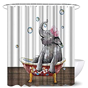 Animal Bathroom Shower Curtains Funny Elephant Take Bath Waterproof Bathroom Decor Sets with Hooks 72x72 Inches