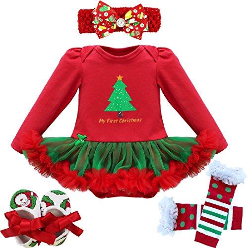 Freebily Conjunto de Navidad para Bebé Niña Recién Nacido Vestido de Princesa Infantil Estilo de Pelele Fiesta Invierno Otoño Árbol de Navidad 2 6-9 Meses
