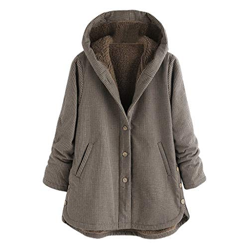 Sale!! Sumeimiya Womens Plus Size Outwear Winter Warm Vintage Plaid Hooded Overcoat Long Sleeve Casu...